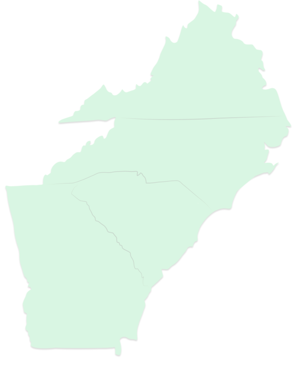 Graphic map of the James C. Greene coverage territory. Includes the states of Virginia, North Carolina, South Carolina and Georgia.